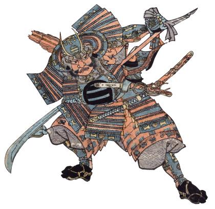 Antique Woodblock print of Samurai Warrior