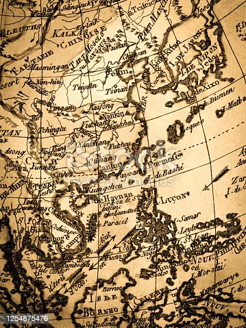 Antique world map, East Asia