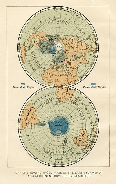 antique world map - antarctica maps stock illustrations, clip art, cartoons, & icons