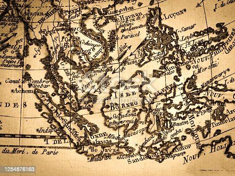 Antique World Map, Southeast Asia