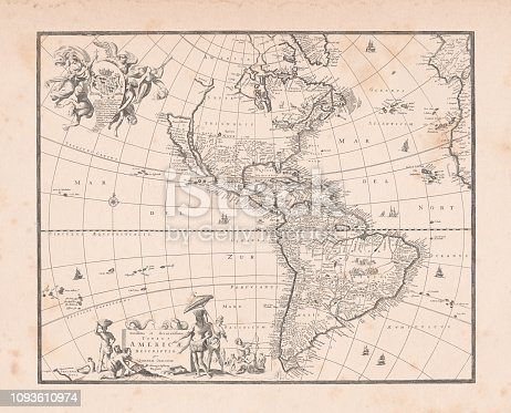 World map with South and North America in the center Original edition from my own archives Source: America New World Empires 1671