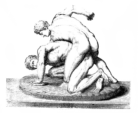 Antique wrestlers engraved