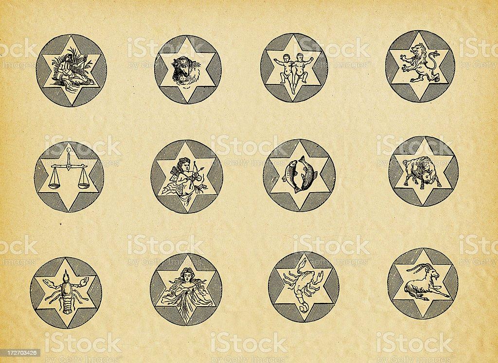 Antique zodiac signs royalty-free stock vector art