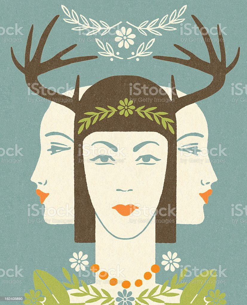 Antler Woman With Two Ladies royalty-free stock vector art