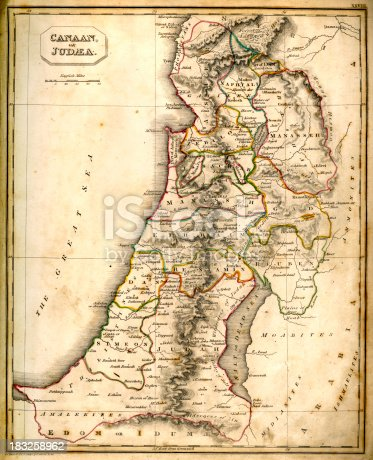 Vintage chart of ancient Canaan or Judaea from 1837