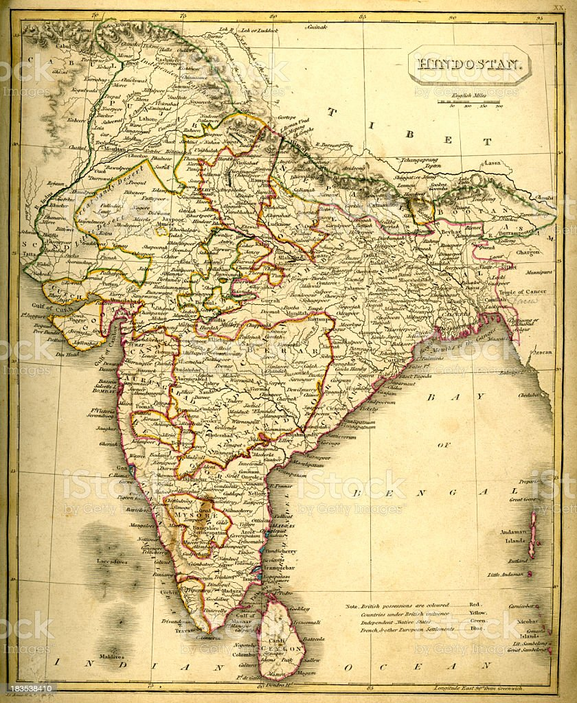 Antquie Map of India royalty-free antquie map of india stock vector art & more images of 19th century