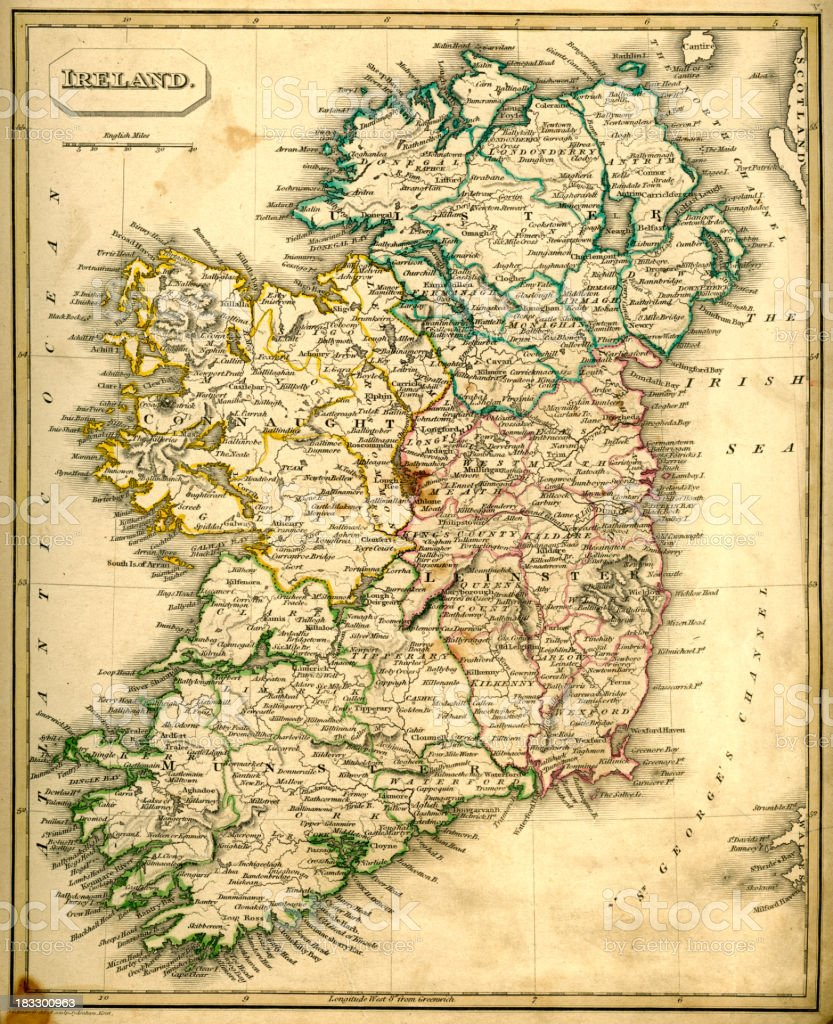Antquie Map of Ireland royalty-free stock vector art