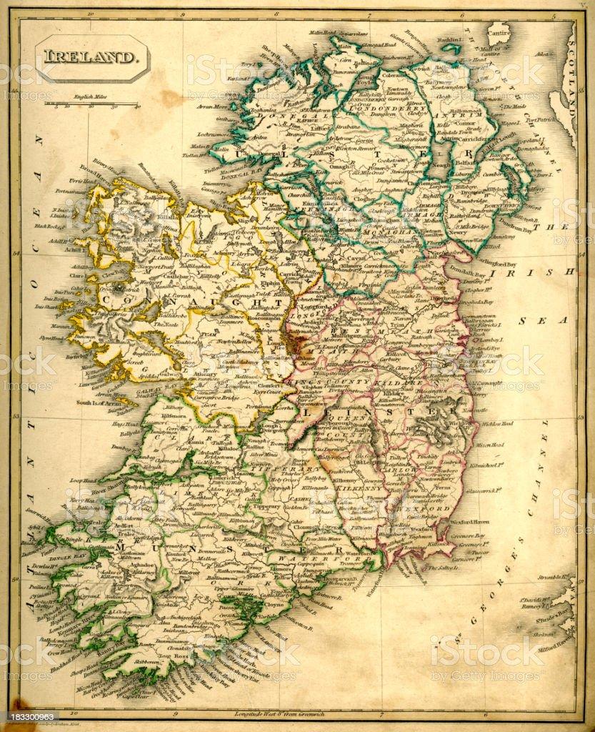 Antquie Map of Ireland vector art illustration
