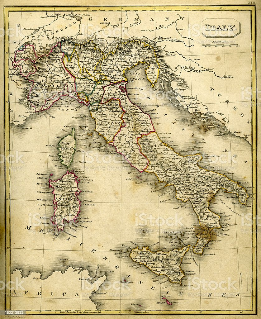Antquie Map of Italy royalty-free antquie map of italy stock vector art & more images of 1830-1839