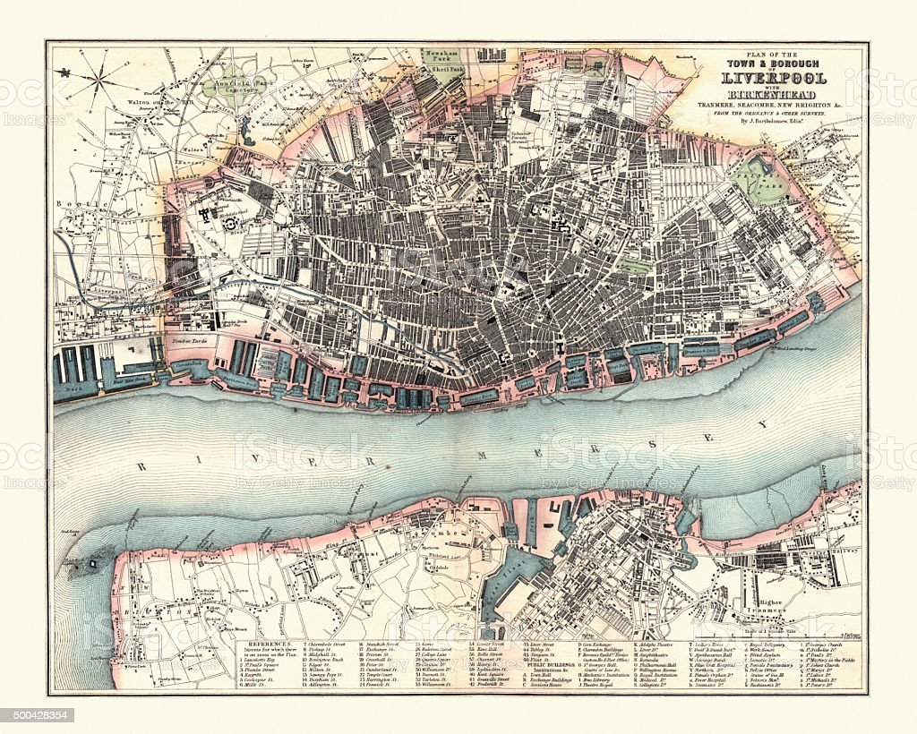 Antquie Map of Liverpool, 1880 vector art illustration