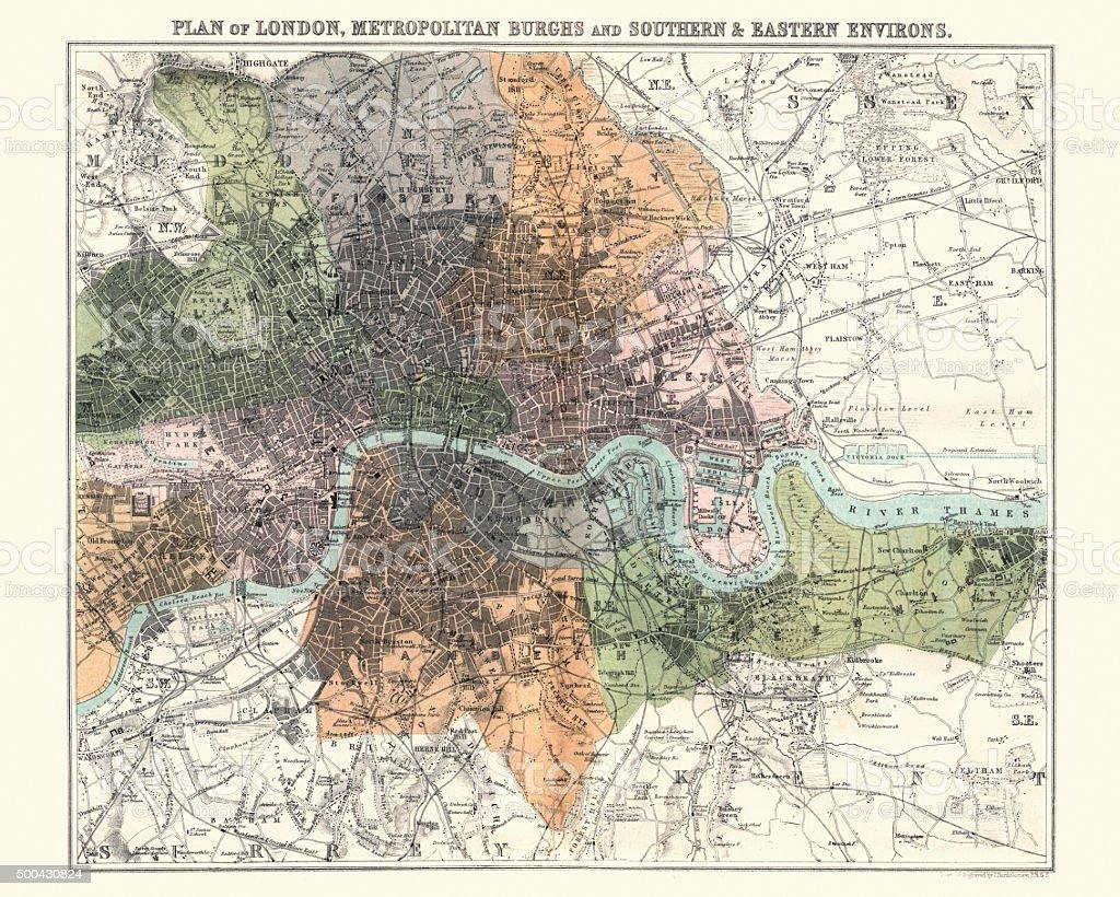 Antquie Map of London, 1880 vector art illustration