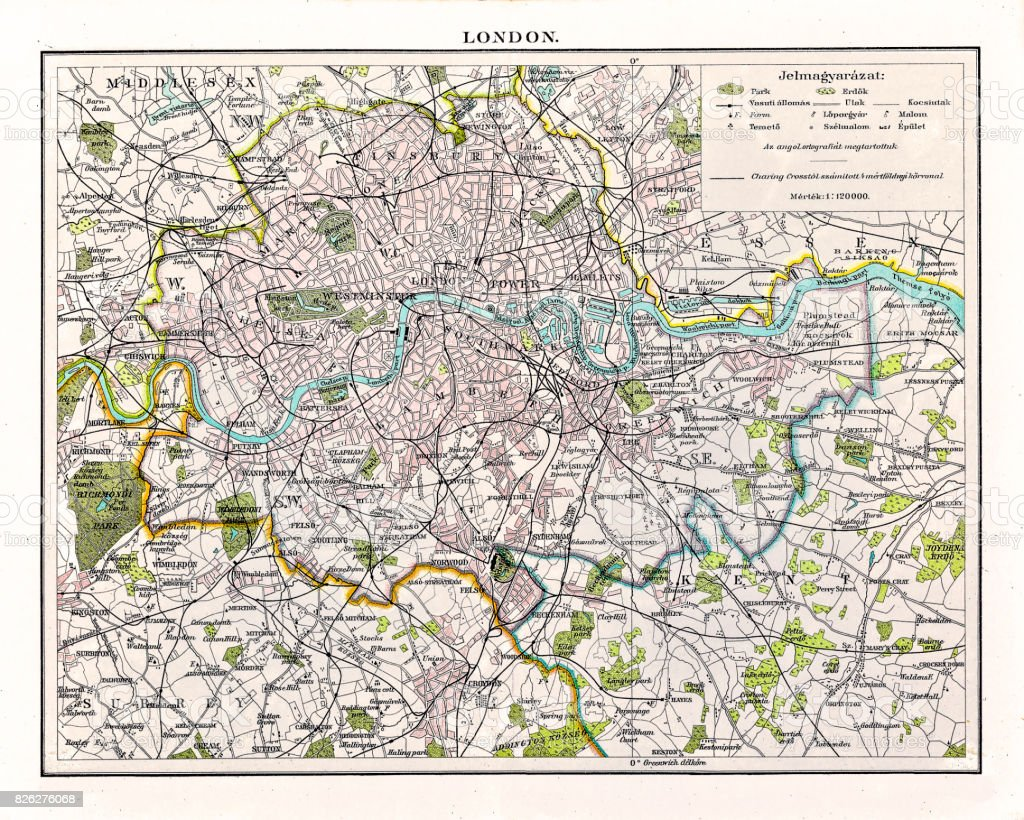 Antquie Map of London, 1895 vector art illustration