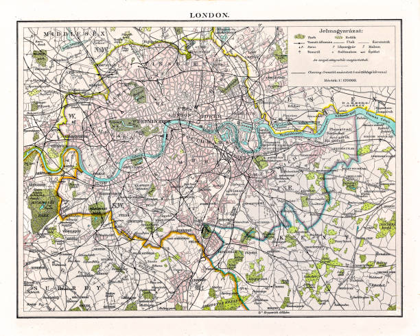 antquie map of london, 1895 - vintage maps stock illustrations, clip art, cartoons, & icons