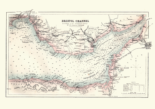 Antquie Map of the Bristol Channel, 1880