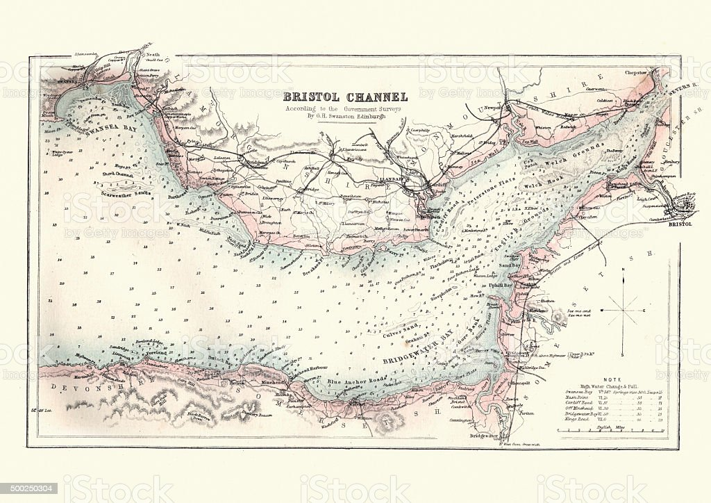 Antquie Map of the Bristol Channel, 1880 vector art illustration