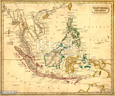 Vintage map of the East India Islands fron 1837