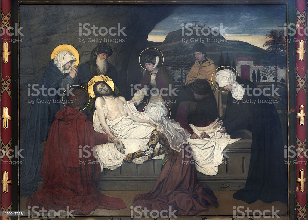 Antwerp -  burial of Jesus fresco in cathedral vector art illustration