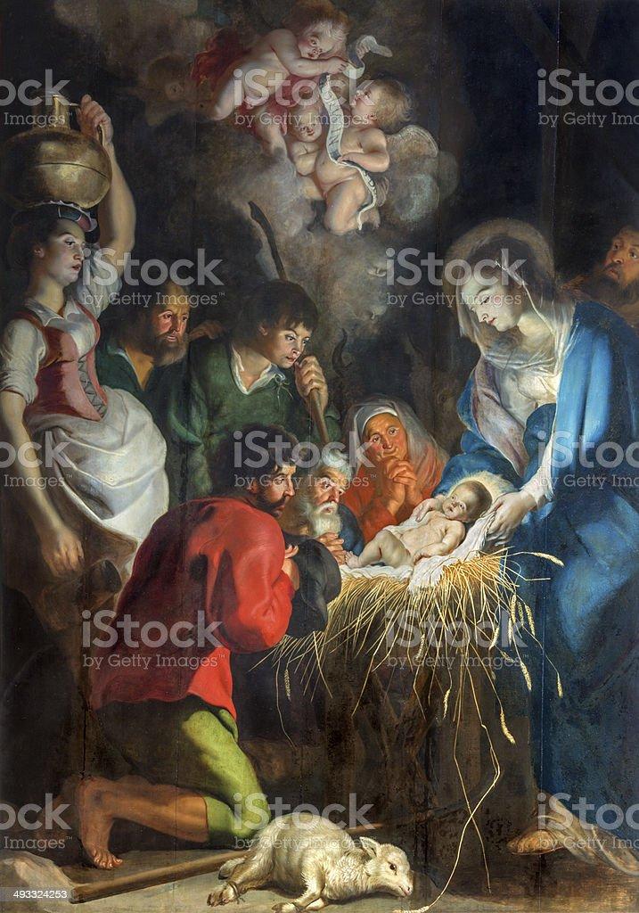 Antwerp - Nativity scene by baroque painter Cornelius de Vos vector art illustration