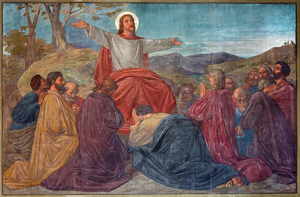 ilustrações de stock, clip art, desenhos animados e ícones de antuérpia-sermon de jesus cena joriskerk - jesus cristo
