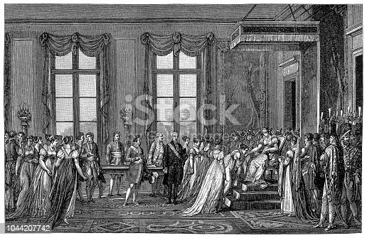 Illustration of a Anxious for an heir napoleon decides to dump Josephine who cant oblige ,he sends an embassy to Vienna suggesting marriage to Marie Louise