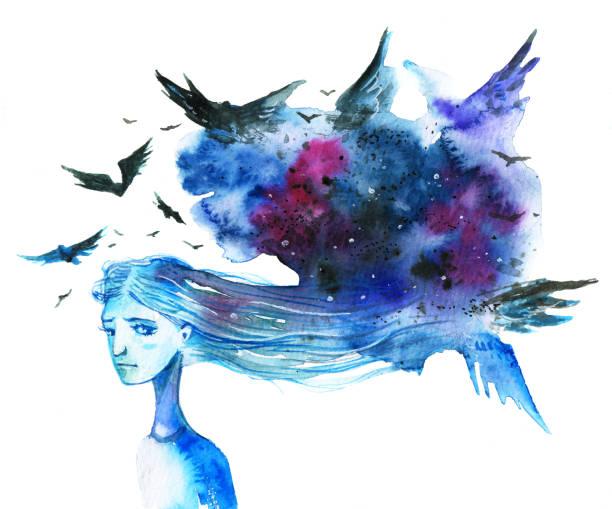illustrazioni stock, clip art, cartoni animati e icone di tendenza di anxious long-haired woman with dark blue cloud and birds over her head - donna si nasconde