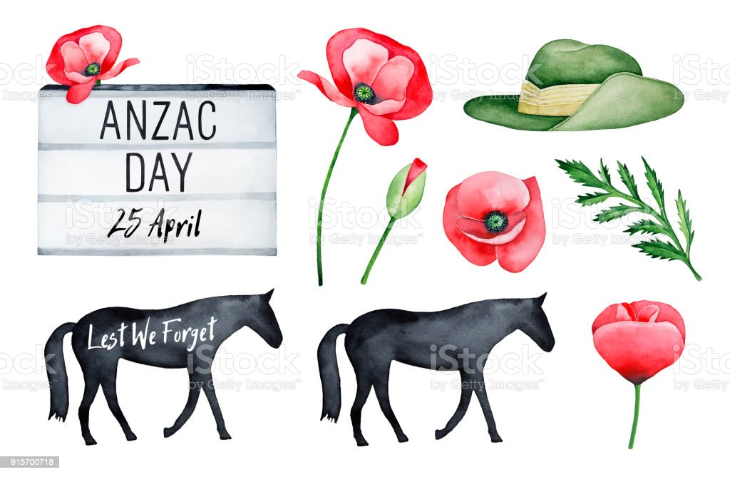 Anzac Day Illustration Set. vector art illustration