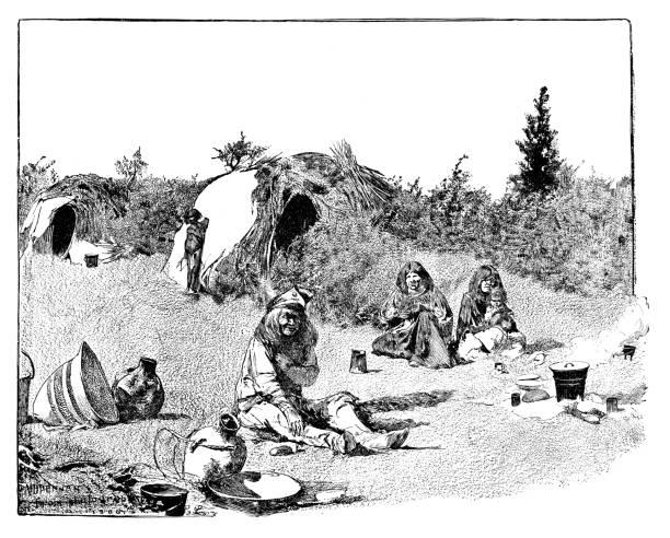 Acampamento Apache - ilustração de arte em vetor