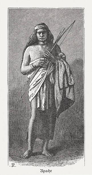 Apache, norte-americana nativa, entalhes de madeira, publicado em 1880 - ilustração de arte em vetor