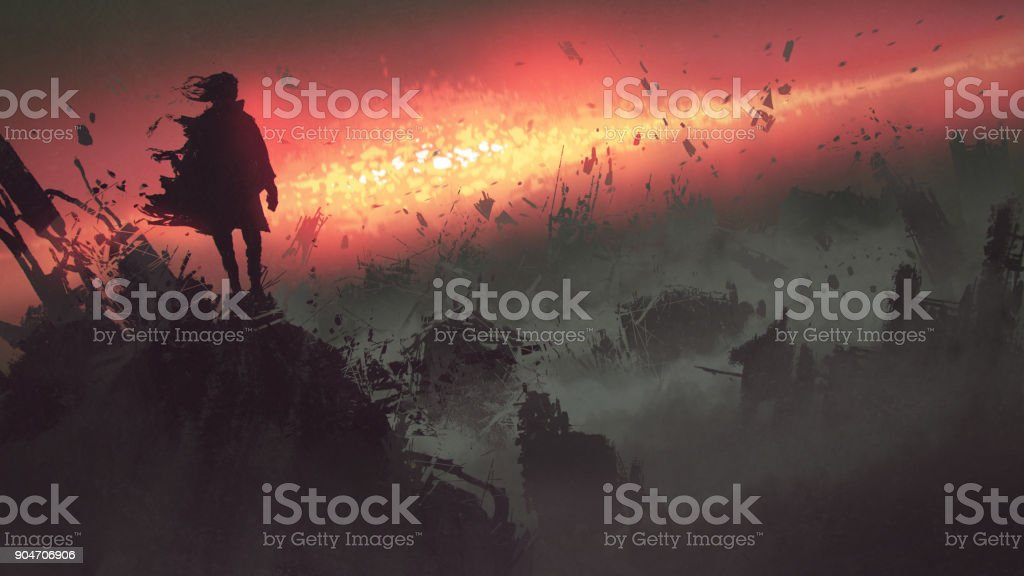 apocalyptic explosion on the earth vector art illustration