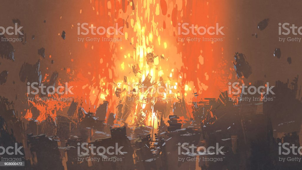 apocalyptic explosion with many fragment of buildings vector art illustration
