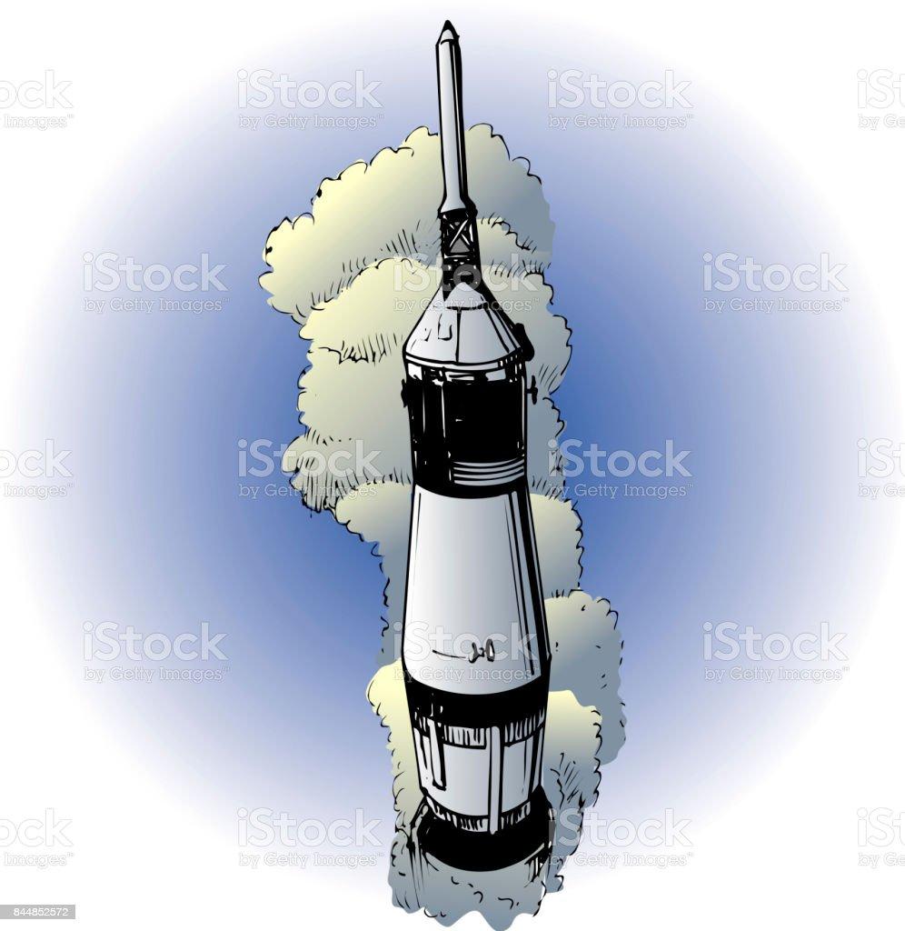 Apollo 11 launch vector art illustration