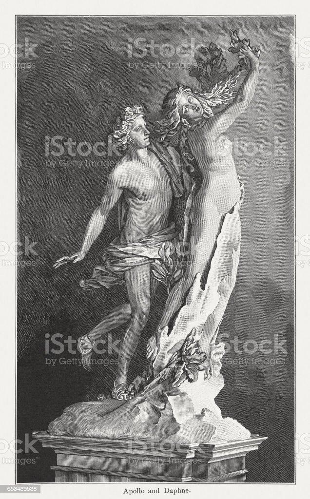 Apollo and Daphne, created (1622/23) by Lorenzo Bernini, published 1884 vector art illustration