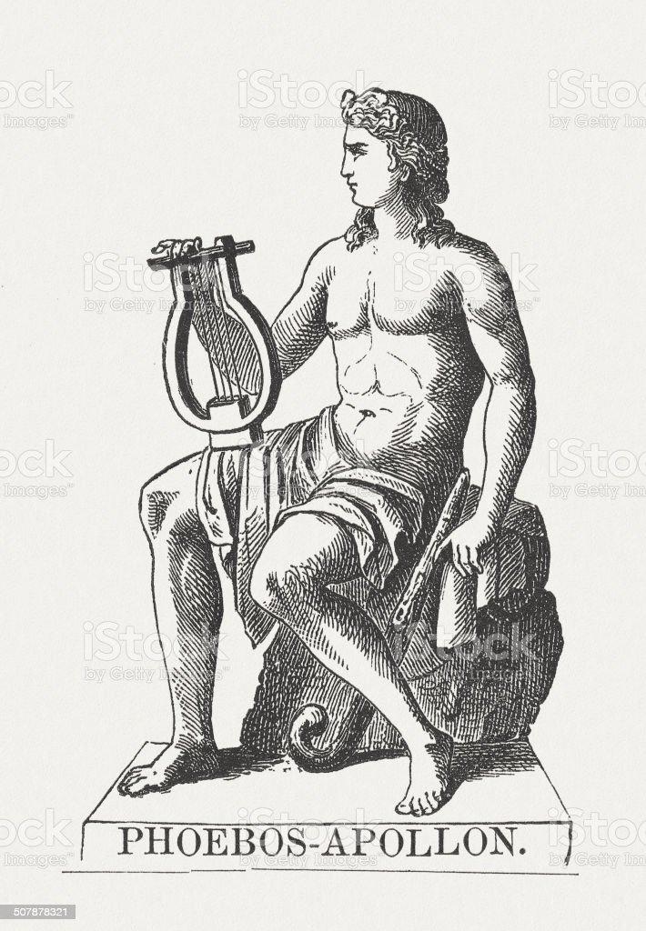 Apollo, Greek god, wood engraving, published in 1878 vector art illustration