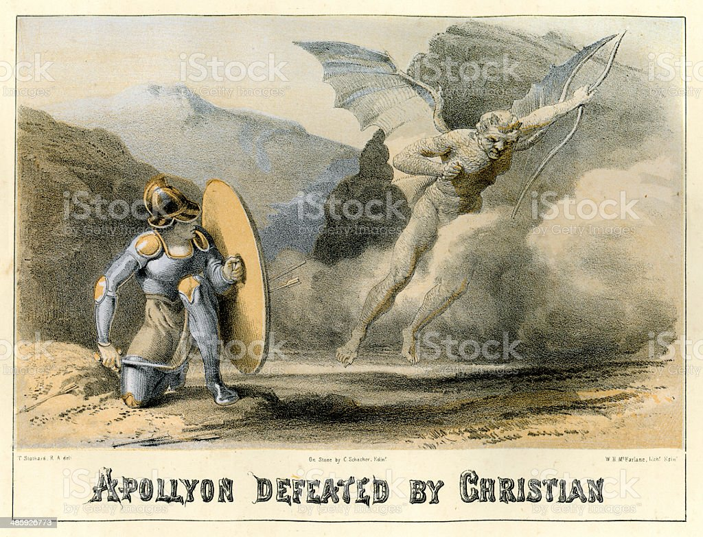 Apollyon defeated by Christian vector art illustration