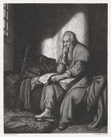 Apostle Paul in prison (1627). Copper engraving after an oil painting by Rembrandt Van Rijn (Dutch painter, 1606 - 1669 in the State Gallery Stuttgart, published c. 1880.