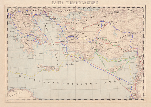 Apostle Paul's Missionary Journeys: 1st (green); 2nd (red); 3rd (blue); last to Rome (yellow). Lithograph, published in 1886.
