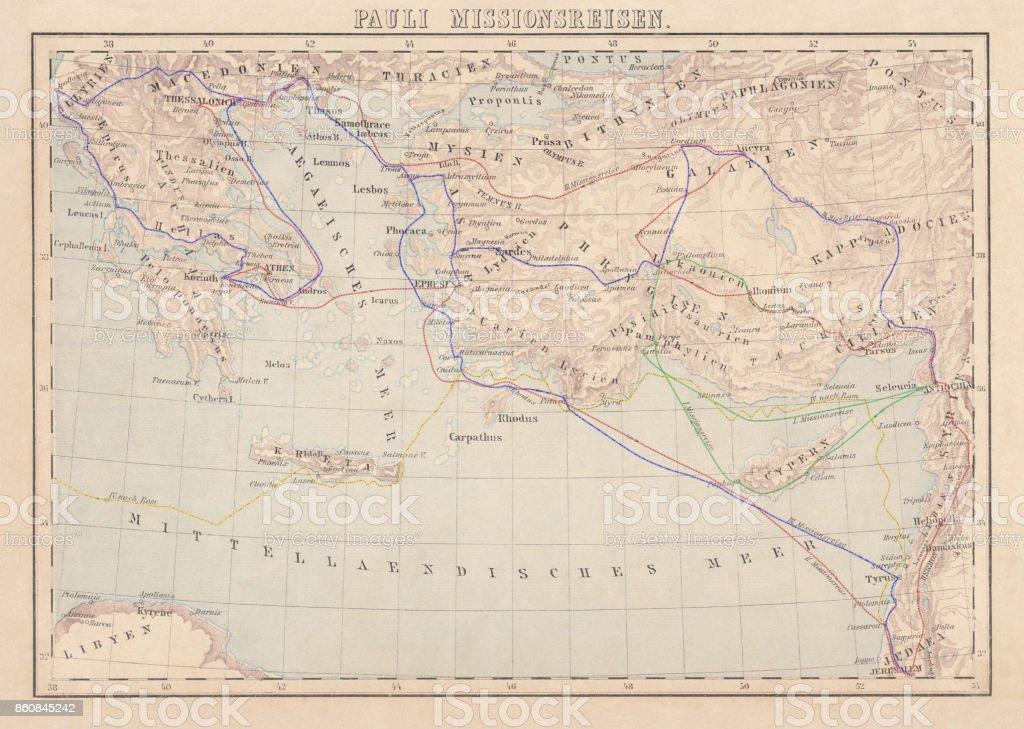 Voyages missionnaires de l'apôtre Paul, lithographie, publié en 1886 - Illustration vectorielle