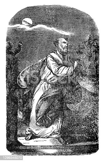 Apostle saint Peter Simon and Jesus Christ crucified on cross. Antique vintage christian religious engraving or drawing illustration.