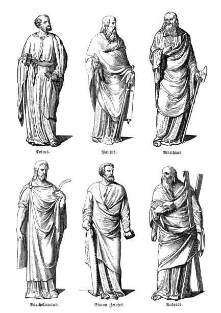 bildbanksillustrationer, clip art samt tecknat material och ikoner med apostlagärningarna, petrus, paulus, matthew, bartholomew, simon, andrew - paul simon