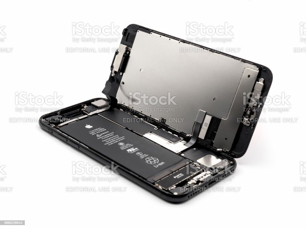 Apple iPhone 7 disassembled showing components inside vector art illustration
