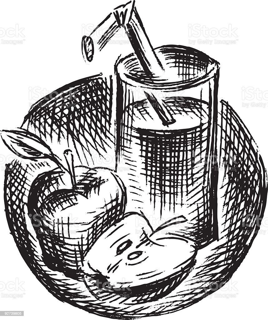 Apfelsaft im Kreis Zusammensetzung – Vektorgrafik