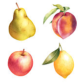 Apple, pear, peach, and lemon hand drawn set. Colorful watercolor isolated fruit.