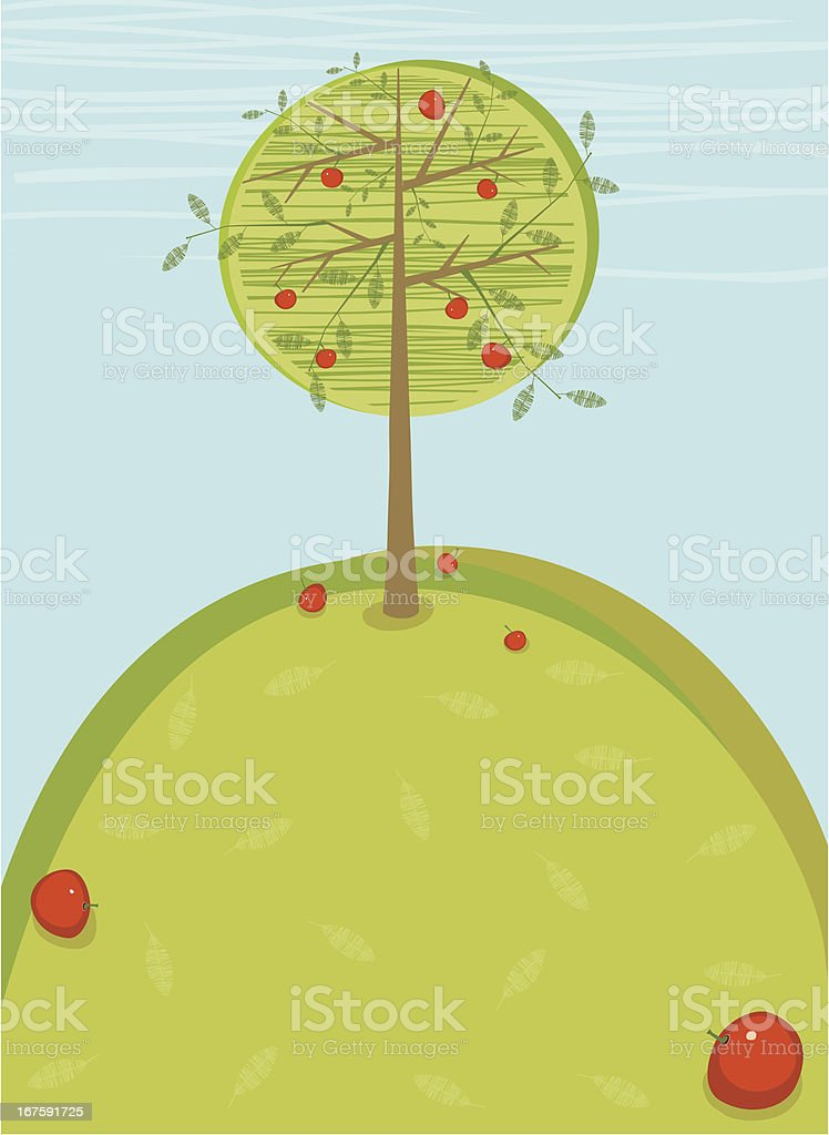 Apple Tree On Summer Hill royalty-free stock vector art