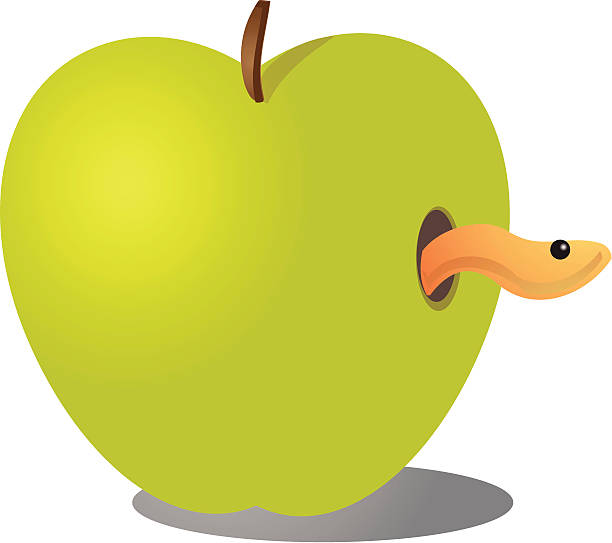 apple with worm - rotten apple stock illustrations, clip art, cartoons, & icons