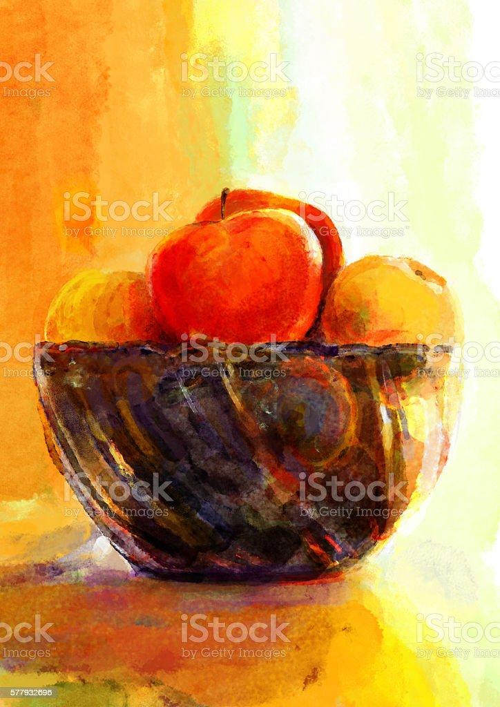 Apples in a vase vector art illustration