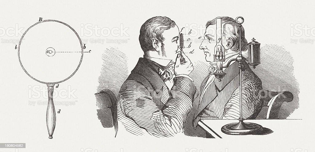 Application du Ophtalmoscope, publié 1854 - Illustration vectorielle