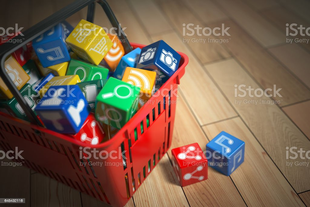 Application Software Icons Boxes In Shopping Basket Store Of