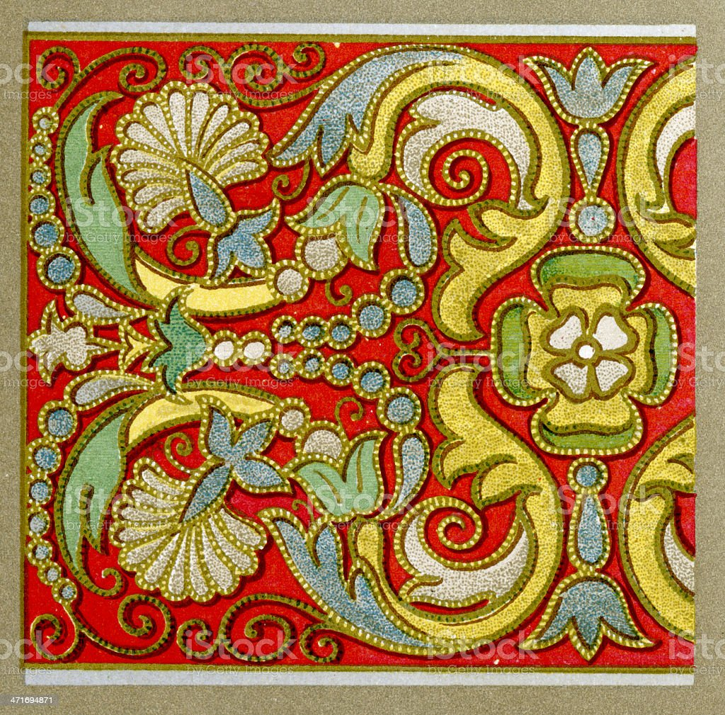 Applique embroidery pattern - 16th Century vector art illustration