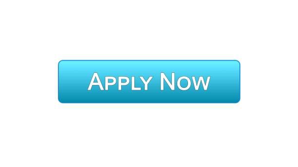 Apply now web interface button blue color, online education program, vacancy vector art illustration