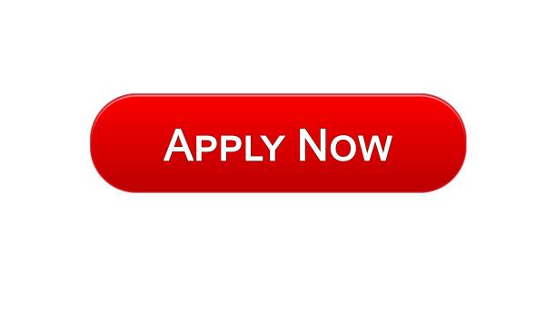 Apply now web interface button red color, online education program, vacancy vector art illustration